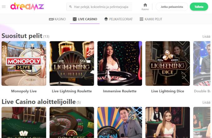 dreamz casinon suositut livecasino pelit