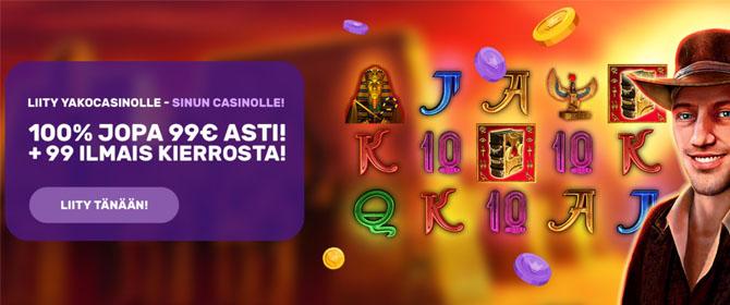 Yako Casino tarjoaa uusille asiakkaille 10% käteispalautusta, 100% bonuksen ja 99 kierrosta