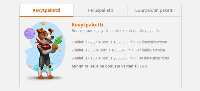 SlotV kevyt bonus soveltuu pienille pelaajille