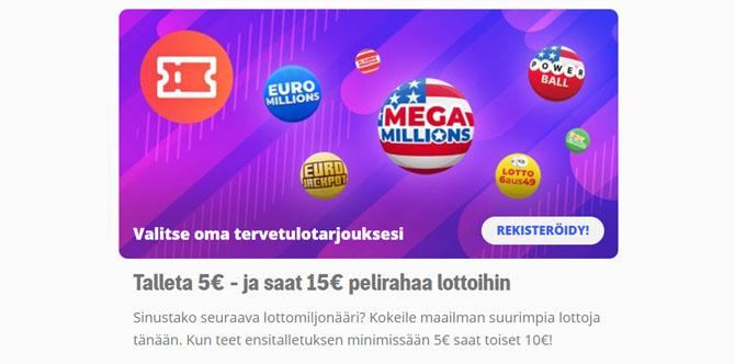 Megalotto tarjoaa 10 euron bonuksen uusille asiakkaille