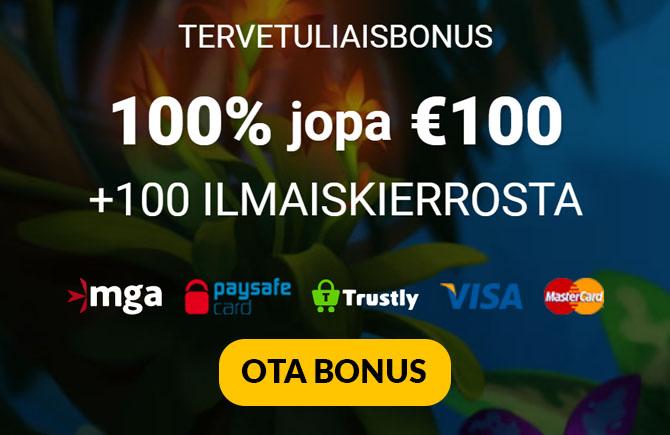 Megaslot bonus antaa sinulle 100% bonuksen 100 € asti