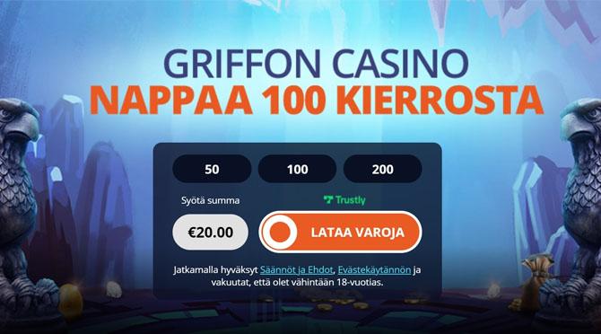 Aloita pelit Griffon kasinolla 100 ilmaiskierroksen avulla