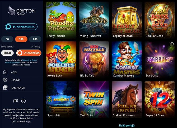 Griffon kasinolta löytyy yli 900 kolikkopeliä